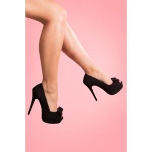 Pinup Couture 50s Bella platform pump Black faux suede bow peeptoe