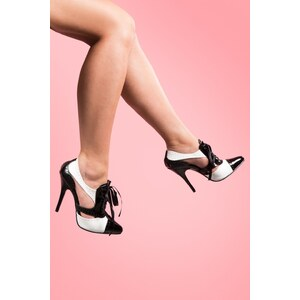 Pleaser Spectator Gangster brogue pumps bootie black white