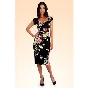 The Pretty Dress Company Cara Dress in The Black Seville Floral Print
