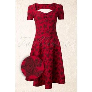 Vixen 50s Chinese Rose Heart buttoned dress
