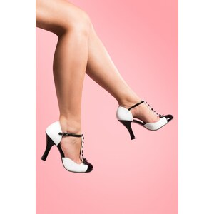 Pinup Couture 40s Smitten T-strap D'orsay pumps black white