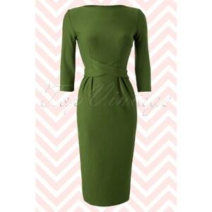 Tatyana 60s Vickie Criss Cross Dress in Vintage Green
