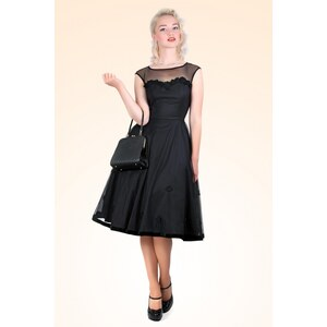 Collectif Clothing 50s Faye Floral Doll Dress Black