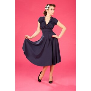 Miss Candyfloss 50s Odette Navy swing dress