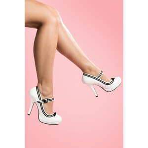 Pinup Couture Secretary Mary Jane Velvet Bow White platform pumps