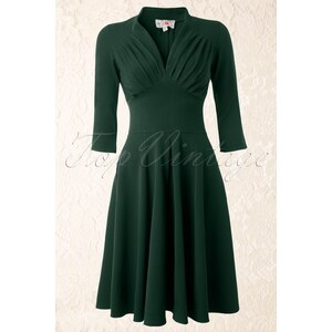 Miss Candyfloss TopVintage exclusive ~ 50s Vedette Forest Green Swing dress