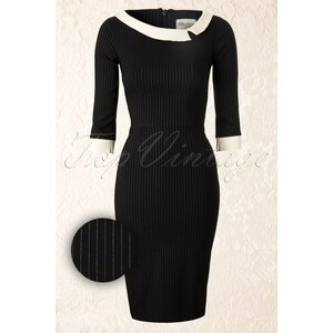 The Pretty Dress Company Black Mistress Mad Men Vintage Pencil dress with Pinstripe