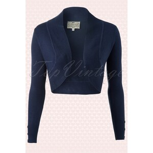 Collectif Clothing Jean knitted Bolero in Navy
