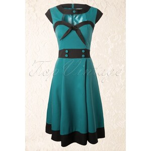 Banned 50s Betty Swing Dress in Petrol Blue