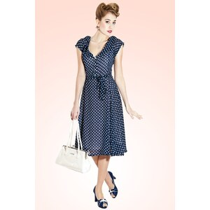 Collectif Clothing 50s Violet Polka Dot Dress in Blue