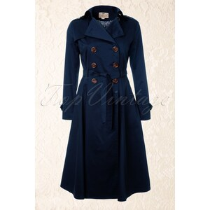 Collectif Clothing Dietrich Swing Trench Coat in Navy