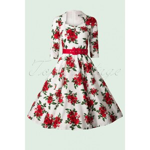 Bunny Eternity 50s White Swing Dress Red Roses