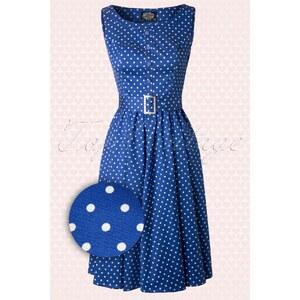 Hearts & Roses 50s Sally Polkadot Swing Dress in Blue