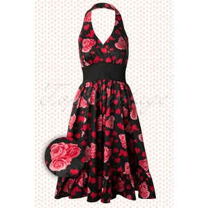 Hearts & Roses 50s Hearts and Roses Swing Halter dress in Black
