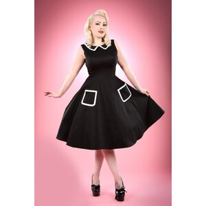 Hearts & Roses 50s Sailor Swing Dress in Black and White