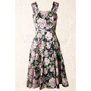 Hearts & Roses 50s Floral Swing Dress in Navy and Pink
