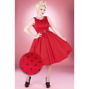 Hearts & Roses 50s Sally Polkadot Swing Dress in Red