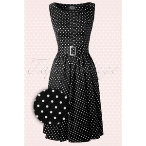 Hearts & Roses 50s Sally Polkadot Swing Dress in Black