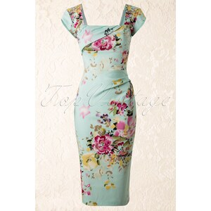 The Pretty Dress Company Cara Dress in The Mint Seville Floral Print