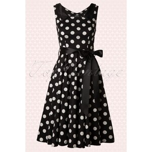 Hearts & Roses 50s Big Dot Swing Dress in Black And White