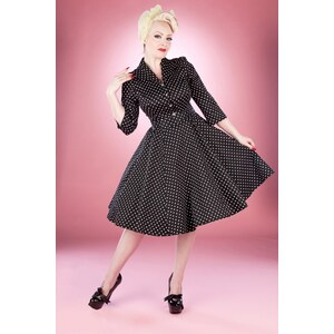 Hearts & Roses 50s Small Dot Swing Tea Dress in Black And White
