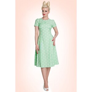 Bunny 50s Madden Dress in Mint Green And White Polkadot