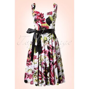Hearts & Roses 50s Summer Pink Floral Swing Dress