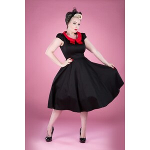 Hearts & Roses 50s Black And Red Ginger Swing Dress