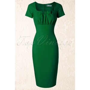 Daisy Dapper TopVintage exclusive ~ 50s Debbie Pencil Dress in Green
