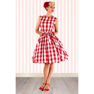 Lindy Bop 50s Audrey Picnic Swing Dress in Red And White
