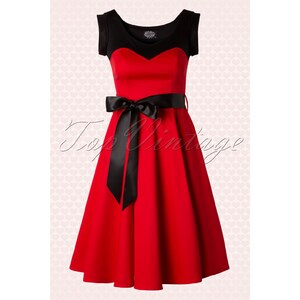 Hearts & Roses 50s Sassy & Sweet Swing Dress in Red