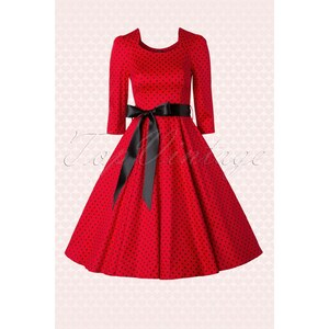 Hearts & Roses 50s Sofie Polkadot Swing Dress in Red and Black