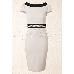 Paper Dolls 50s Cream and Black Pencil Dress with Bow Belt