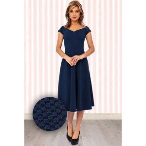 Vintage Chic 50s Sophie Fit and Flare Dress in Navy