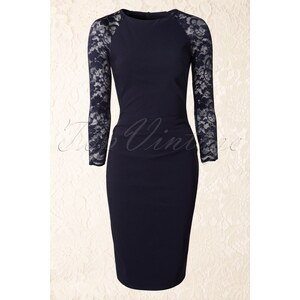 Vintage Chic 50s Royal Lace Pencil Dress in Navy