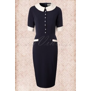 Collectif Clothing 50s Cecilia Classy Pencil dress in Navy