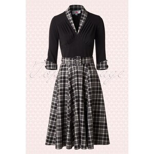 Miss Candyfloss 50s Kassandra Swing Dress in Black Tartan