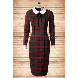 Collectif Clothing 40s Lisa Noelle Check Pencil Dress