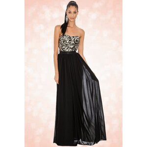 Vintage Chic 30s Sparkle Sequin Maxi Dress in Black and Silver