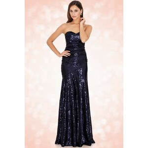 Vintage Chic 30s Sparkle Sequin Sweetheart Maxi Dress in Navy