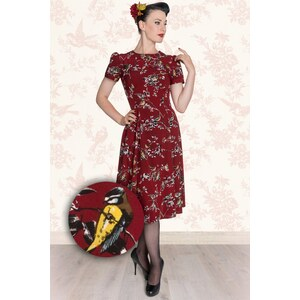 Bunny 50s Madden Birdy Dress in Carmine Red