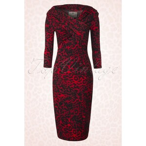 Collectif Clothing 50s Hollie Leopard Wiggle Dress in Red