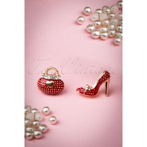 From Paris with Love! 60s If The Shoe Fits I'll Take The Bag Too Earrings in Red
