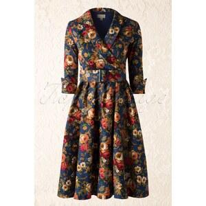 Lindy Bop 50s Vivi Vintage Floral Swing Dress in Dark Blue
