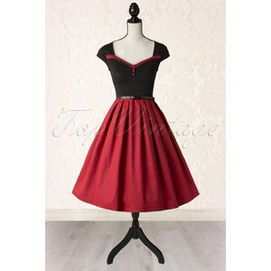 Lindy Bop 50s Rita Ravishing Rockabilly Dress in Black and Red