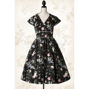 Lindy Bop 50s Polly Flourishing Floral Dress in Black