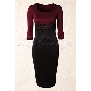Vintage Chic 50s Scarlet Lace Dress in Wine and Black