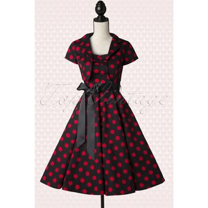 Hearts & Roses 50s Jolie Big Dot Bolero Swing Dress in Black and Red