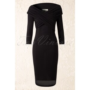 Collectif Clothing 50s Hollie Knitted Pencil Dress in Black