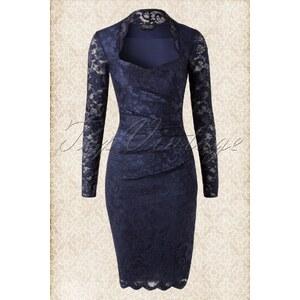 Vintage Chic 50s Vivien Sweetheart Neckline Lace Dress in Navy